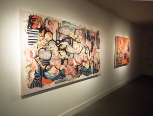"(left) Looks Like, oil and acrylic on canvas, 49"" x 85 "", 2009-10 (right) A Habitable Ether, oil on canvas, 40"" x 50"", 2011-12"