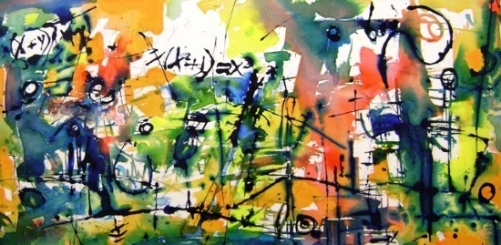 """Composition B"" Medium: Acrylic on Canvas Size: 24"" x 48"""
