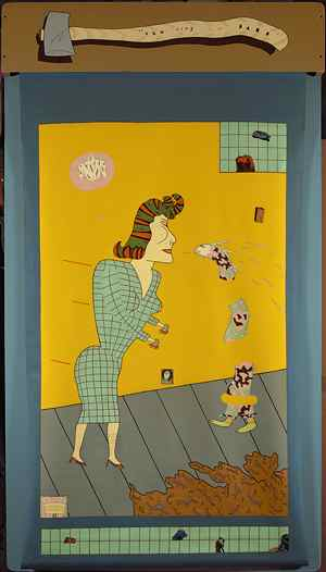 I'm_All_A_TWit,_acrylic_reverse_painting_on_vinyl_window_shade_with_enamel_on_wood_by_Jim_Nutt,_1969,_Pennsylvania_Academy_of_Fine_Art